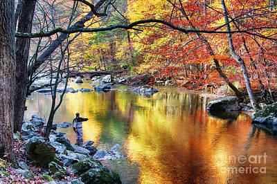 Scenic New Jersey Fall Fly Fishing  Art Print