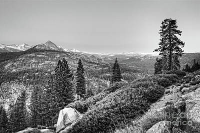 Photograph - Scenic View From Yosemite Glacier Point Bw by Dan Carmichael