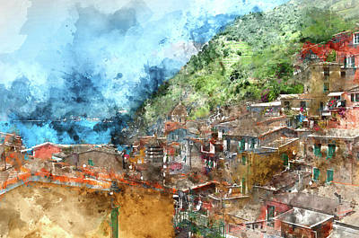 Night Fishing Digital Art - Scenic View Of Colorful Village Vernazza And Ocean Coast In Cinq by Brandon Bourdages