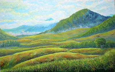 Impressionist Mixed Media - Scenic View Of The Blue Ridge by Lee Nixon