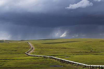Dalton Highway Photograph - Scenic View Of The Trans Alaska Oil by Lucas Payne