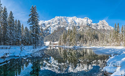 Holidays Photograph - Scenic Winter Landscape In Bavarian Alps At Idyllic Lake Hinters by JR Photography