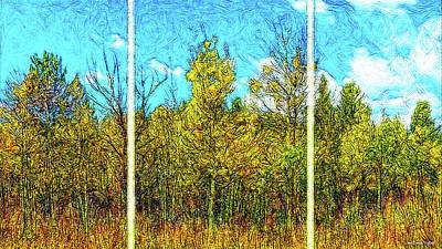 Digital Art - Scent Of Aspen And Pine - Triptych by Joel Bruce Wallach