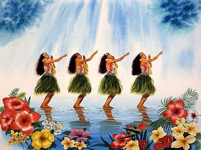 Hawaii Hula Dancer Painting - Scent Of Paradise by John YATO