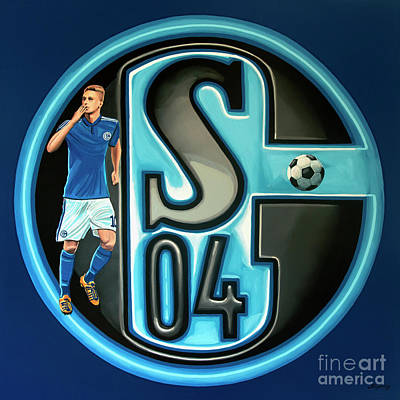 Soccer Ball Painting - Schalke 04 Gelsenkirchen Painting by Paul Meijering