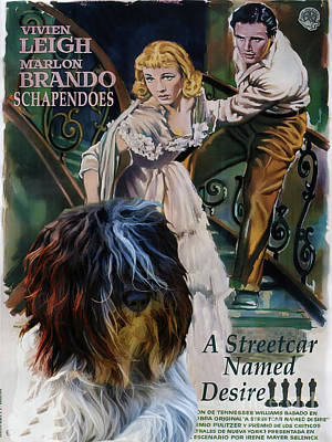 Painting - Schapendoes Art Canvas Print - A Streetcar Named Desire Movie Poster by Sandra Sij