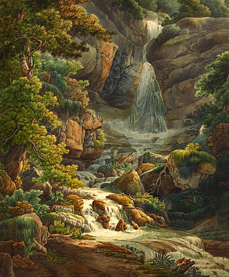 Switzerland Painting - Schelmenlock Waterfall by Mountain Dreams