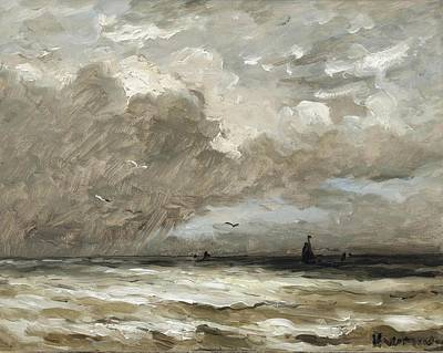 Op Painting - Schepen Op Ruwe Zeesea by Hendrik Willem Mesdag