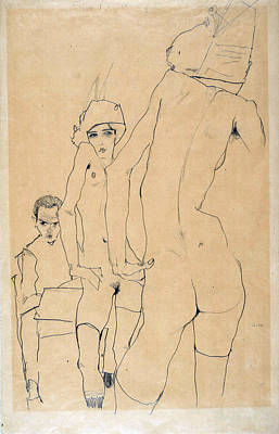 Top With Oil Painting - Schiele With Nude Model Before The Mirror, 1910 by Egon Schiele