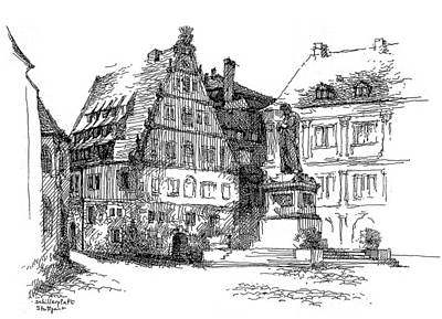 Streetscape Drawing - Schiller Plaza In Stuttgart by Guang Ai