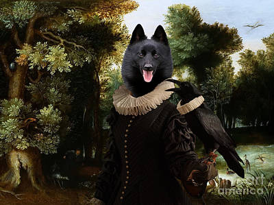 Painting - Schipperke Art Canvas Print - Forest Landscape With A Hunter And Noble Lady by Sandra Sij