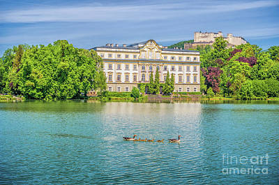 Watercolor Alphabet Rights Managed Images - Schloss Leopoldskron in Salzburg Royalty-Free Image by JR Photography