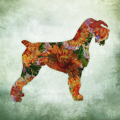 Watercolor Pet Portraits Wall Art - Digital Art - Schnauzer Floral On Green by Flo Karp