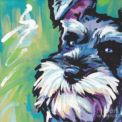 Puppies Painting - Schnauzer  by Lea S