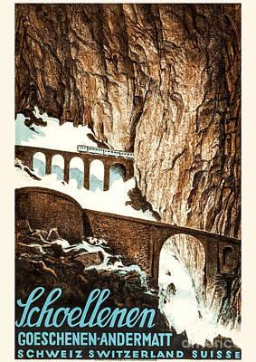 Litho Digital Art - Schoellenen Switzerland Travel Poster 1919 by Vintage Printery