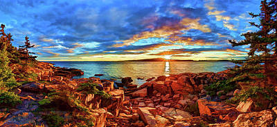 Digitally Manipulated Photograph - Schoodic Point Sunset by ABeautifulSky Photography by Bill Caldwell