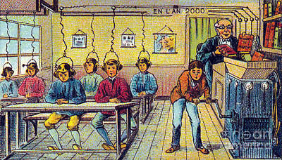 Mechanization Photograph - School, 1900s French Postcard by Science Source