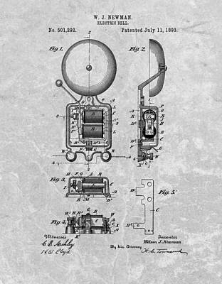 School Bell Patent Art Print by Dan Sproul