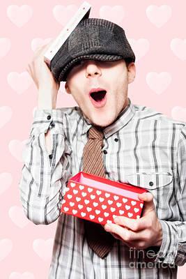 School Boy In Love Holding Valentines Day Present Art Print