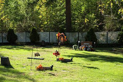 Photograph - School Bus And Scarecrow Memorials  by Tom Cochran