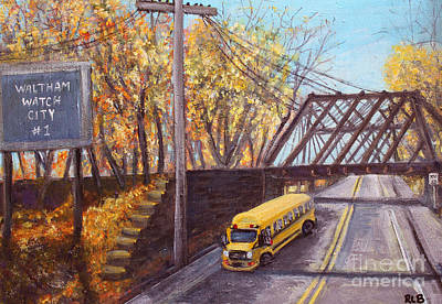 Painting - School Bus On Linden Street by Rita Brown