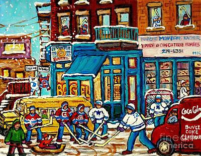 Delivery Truck Painting - School Bus Paintings St Viateur Bagel The Jewish Street Montreal Memories Mehadrin Kosher Butcher by Carole Spandau