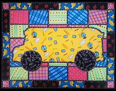 Painting - School Bus Quilt by Jim Harris