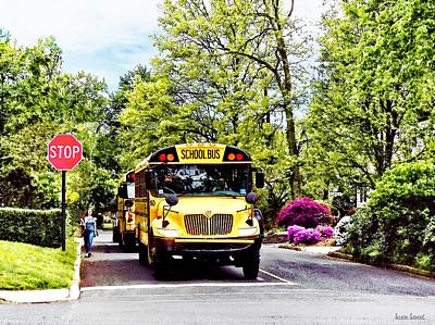 Buses Photograph - School Buses At Stop Sign In Spring by Susan Savad