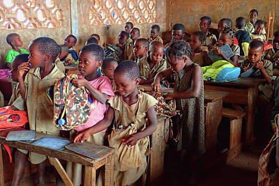 Photograph - School Children In Class In Togo by David Smith
