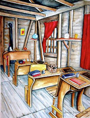 One Room School Houses Painting - School Days by Sally Storey Jones