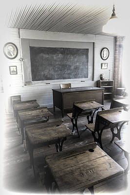 Wood Desk Photograph - School Days by Stephen Stookey