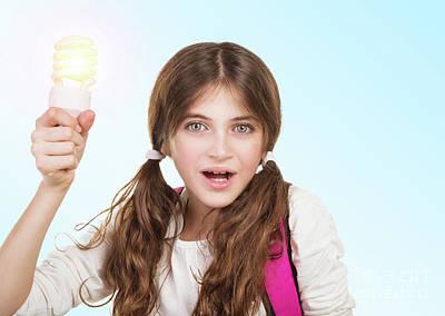 Photograph - School Girl Having A Good Idea by Anna Om