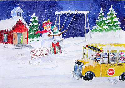 School Bus Painting - School' Is Out by Suzy Pal Powell