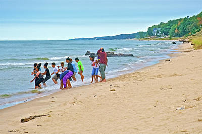 Photograph - School Kids At North Beach Park In Ottawa County, Michigan  by Ruth Hager