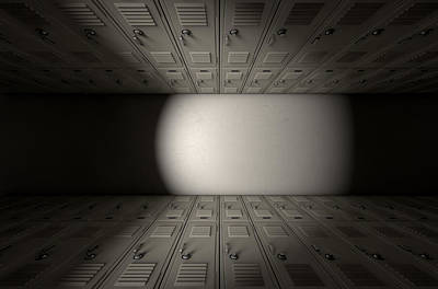 Youth Digital Art - School Locker Corridor by Allan Swart