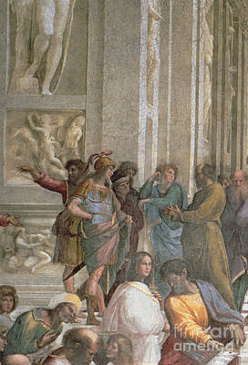 Greek School Of Art Painting - School Of Athens, From The Stanza Della Segnatura by Raphael