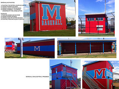 School Press Box Mural Art Print by Keith Naquin