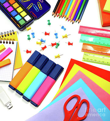 Photograph - School Supplies Background by Anna Om