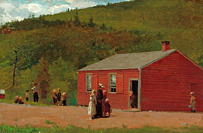 Red School House Painting - School Time by Winslow Homer