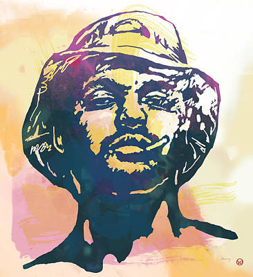 Hop Drawing - Schoolboy Q Pop Stylised Art Poster by Kim Wang