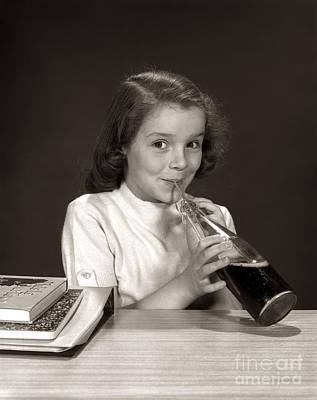 Impish Photograph - Schoolgirl Drinking Soda, C.1950-60s by H. Armstrong Roberts/ClassicStock