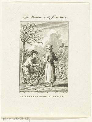 Modern Kitchen - Schoolmaster in conversation with gardener who scrubs shrub, Jan Lucas van der Beek, after Isaac van by Isaac van Haastert