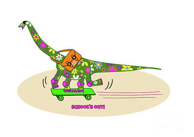 Skateboard Digital Art - Schools Out For Dinosaurs by Beverley Brown