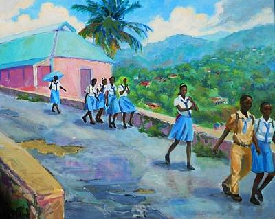 School's Out In Jamaica Art Print by Margaret  Plumb