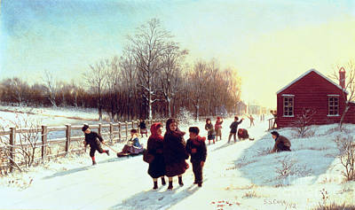 Winter Scene Painting - School's Out by Samuel S Carr