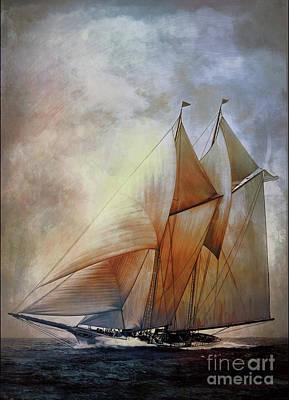 Digital Art - Schooner America In 1910.   by Andrzej Szczerski