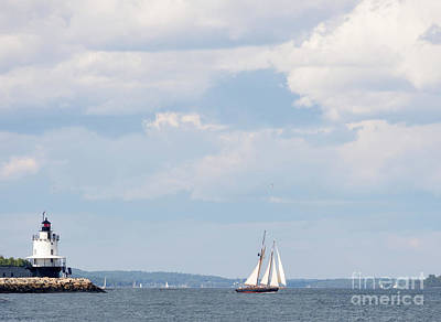 Photograph - Schooner And Lighthouse In Casco Bay, Maine #30096 by John Bald