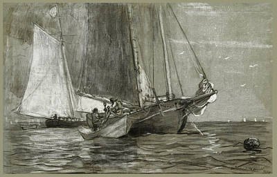 Winslow Homer Drawing - Schooner At Anchor by Winslow Homer