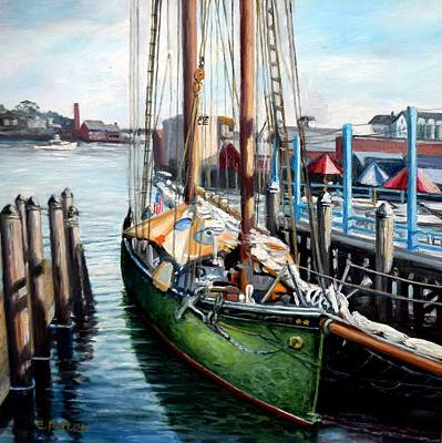 Painting - Schooner At Gloucester Docks by Eileen Patten Oliver
