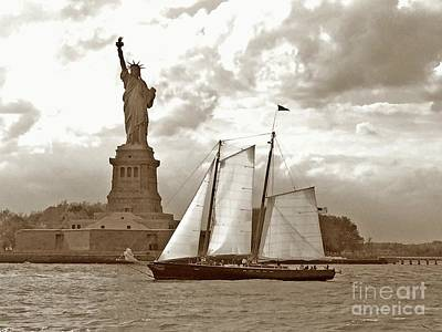 Schooner At Statue Of Liberty Twurl Art Print by Tom Wurl